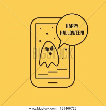 Happy halloween mobile app with ghost, modern linear icon, vector illustration.