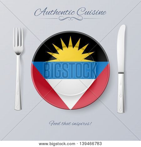 Authentic Cuisine of Antigua and Barbuda. Plate with Flag and Cutlery