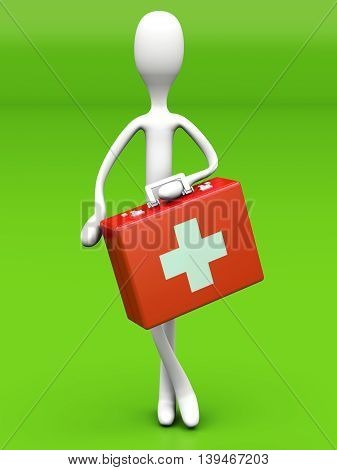 A Cartoon Figure with a First aid case. 3D rendered Illustration.