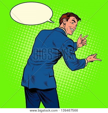 Gesticulating man back pop art retro vector illustration. Sign language
