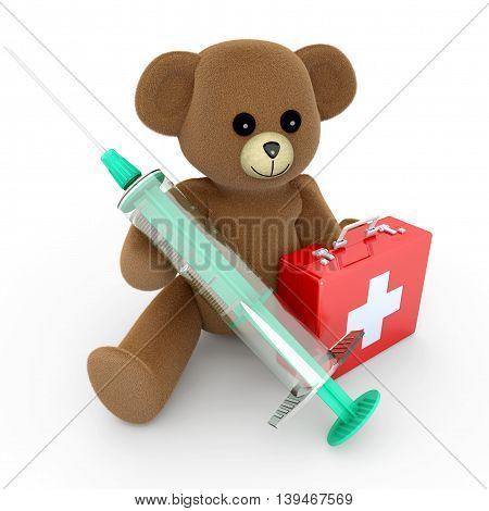 A medical Teddy bear. 3d rendered Illustration.