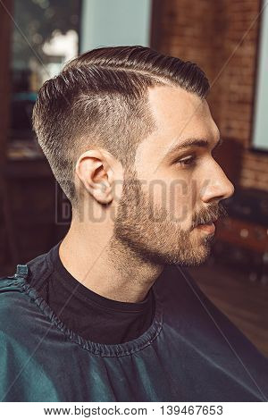 The profile of young man with a beard and mustache in barbershop