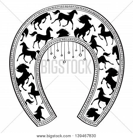 Horseshoe with horse pattern. Tea shot design. Vector illustration.