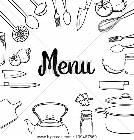 Kitchenware and cutlery square menu design sketch style vector illustration isolated on white background. Concept of menu banner poster cover with kitchen utensils and empty space for text