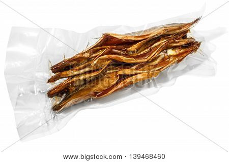 vacuum packed cold smoked Baikal omul on the white background