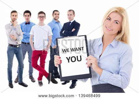 job search concept - business men and woman holding clipboard with text