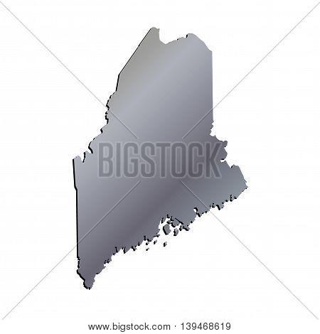 3D Maine (USA) Aluminium outline map with shadow