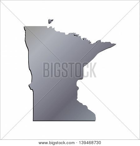 3D Minnesota (USA) Aluminium outline map with shadow