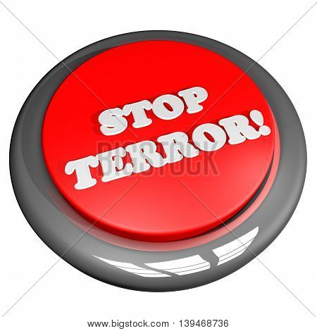 Button With Words Stop Terror
