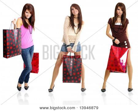 three photography of  model. shopping girl