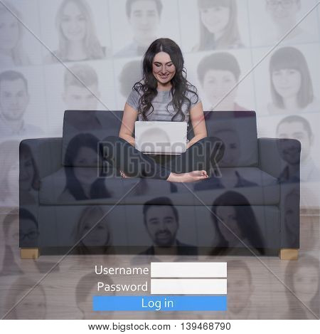 internet concept - young woman with laptop in social network