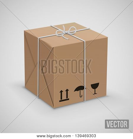 Wraped box in yllow paper parcel box. Vector illustration