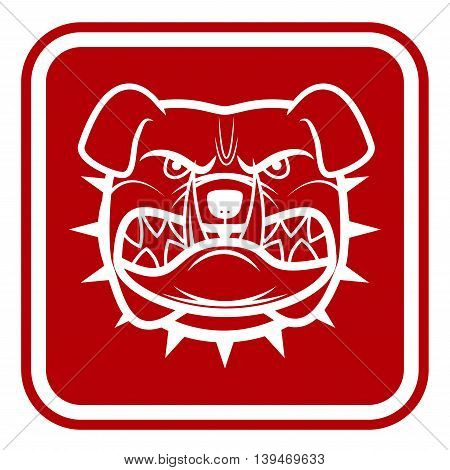 Beware of Dog Red Danger Sign. Vector Illustration EPS8