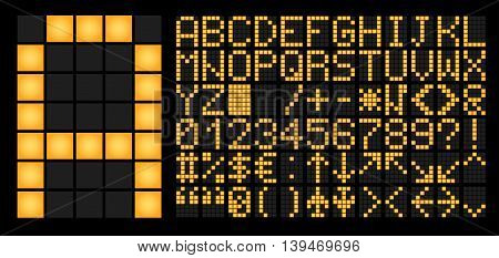 Charset for electronic led timetable or information board. Illustration of the designer