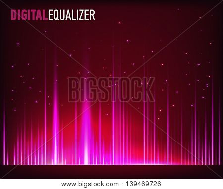 Digital equalizer with light flares. Vector illustration.