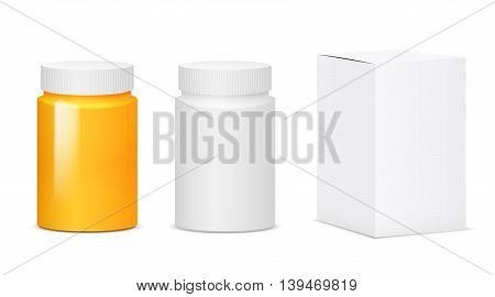 Set of white and yellow plastic medicine bottles. Realistic vector illustration