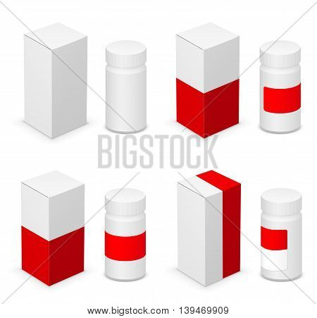 White medical bottle container and red design templates on white background. Vector illustration