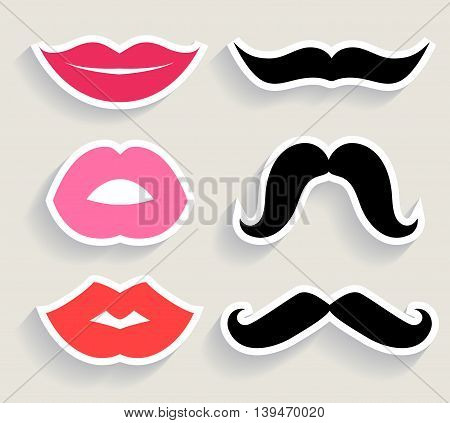 Set of lips and mustaches. Vector illustration.