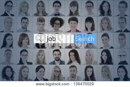 Internet And Job Search Concept - Search Bar Over Collage Of People Faces