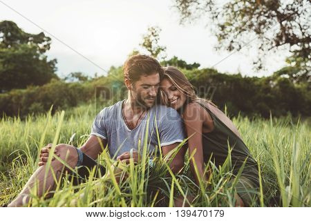 Romantic Young Couple In Meadow