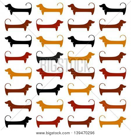 Dachshunds. Pattern. Cute dogs silhouettes. Vector illustration.