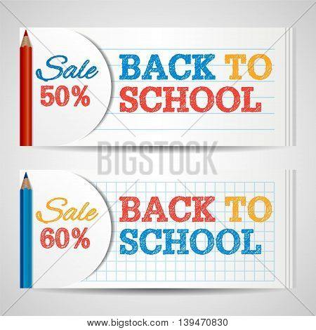 Modern horizontal banners template with Back To School hand drawn text. Notebook paper layers. Colorful Colored Pencils school supplies. Education concept. Vector illustration for web design.