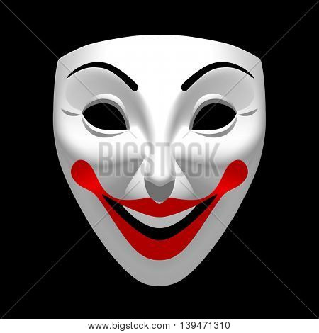 White theatrical smiling mask isolated on black. 3D illustration