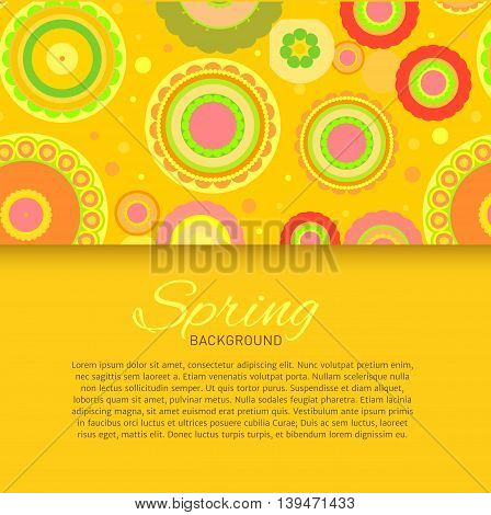 Postcard with yellow seamless pattern. Vector illustration.