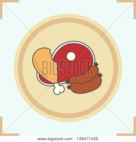 Meat products color icon. Grocery store items. Chicken leg, beef steak and sausages. Vector isolated illustration