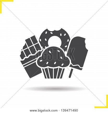 Confectionery icon. Negative space. Drop shadow silhouette symbol. Chocolate bar, muffin with raisins, ice cream and bitten doughnut. Vector isolated illustration