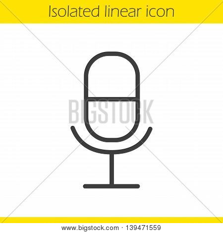 Microphone linear icon. Thin line illustration. Radio microphone contour symbol. Vector isolated outline drawing