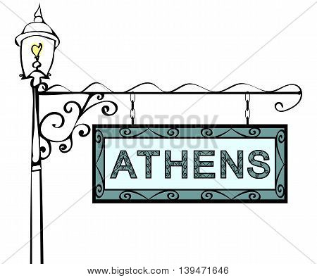 Athens retro vintage lamppost pointer. Athens Capital Greece tourism travel.