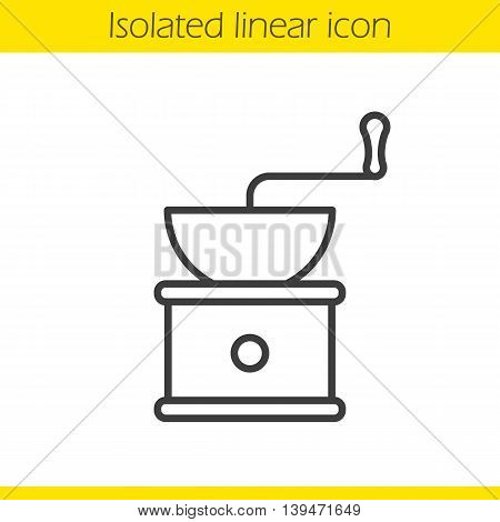 Coffee grinder linear icon. Thin line illustration. Classic vintage coffee mill contour symbol. Vector isolated outline drawing