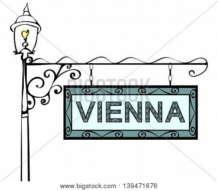 Vienna retro vintage lamppost pointer. Vienna Capital Austria tourism travel.