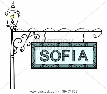Sofia retro vintage lamppost pointer. Sofia Capital Bulgaria tourism travel.