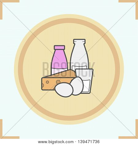 Dairy products color icon. Yogurt, bottle and glass of milk, eggs and cheese. Grocery store items vector isolated illustration