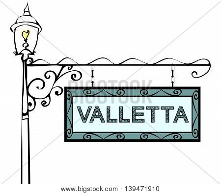 Valletta retro vintage lamppost pointer. Valletta Capital Malta tourism travel.