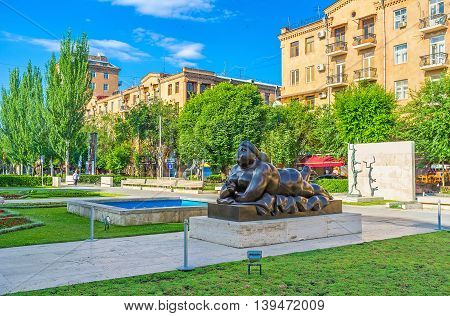 YEREVAN ARMENIA - MAY 29 2016: The Botero's naked smoking woman in Cafesjian sculpture garden in the city center on May 29 in Yerevan.