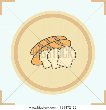 Bread color icon. Sliced bread pieces. Grocery store products. Toasts on wooden plate vector isolated illustration