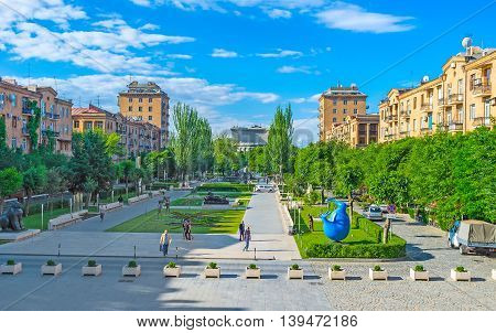 YEREVAN ARMENIA - MAY 29 2016: The Cafesjian sculpture garden is the best place for a walk and enjoy the modern art works on May 29 in Yerevan.