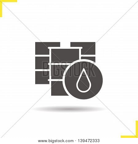 Oil barrel icon. Drop shadow silhouette symbol. Oil drum vector isolated illustration