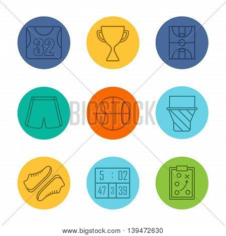 Basketball equipment linear icons set. Shirt, trophy, field, shorts and ball . Hoop, shoes, scoreboard and game plan. Thin line contour symbols on color circles. Vector illustrations