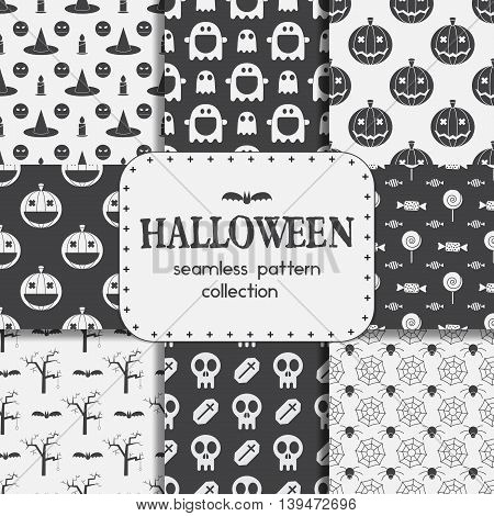 Halloween Seamless Pattern Backgrounds Set