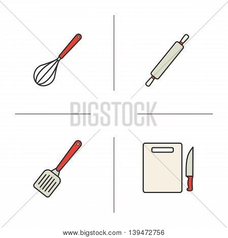 Kitchen instruments color icons set. Cooking tools. Whisk, rolling pin, spatula and cutting board with knife. Vector isolated illustrations
