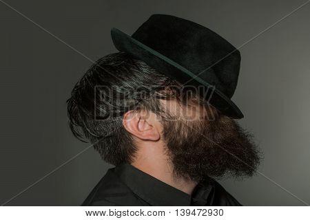 Bearded Gentleman In Black Retro Hat