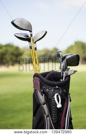 Focus on foreground of a golf bag on field