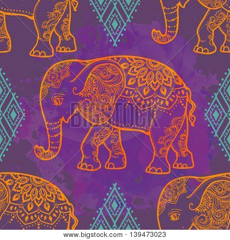 Card with Elephant. Frame of animal made in vector. Pattern Illustration for design, pattern, textiles. Hand drawn map with mandala. Use for children clothes, pajamas