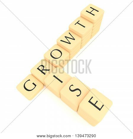 Stairs of letter tiles: growth and rise 3d illustration