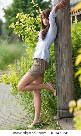 Portrait of a beautiful sexy woman in park
