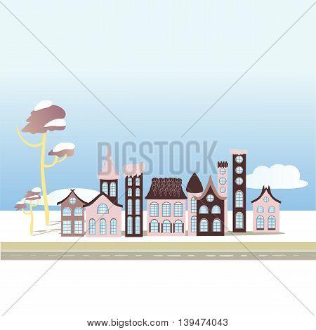 Vector landscape city houses illustration. Winter season town